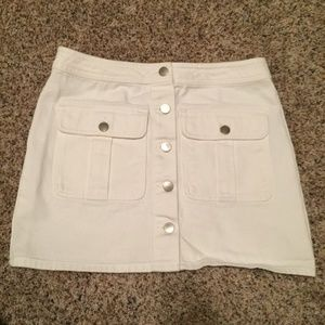 White Button up Vintage looking Denim Skirt